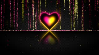 Elegant Glowing Heart with Streaks of Light Particles Seamless Loop Multicolor Version Pink Yellow