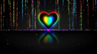 Elegant Glowing Heart with Streaks of Light Particles Seamless Loop Multicolor Version Rainbow