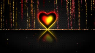 Elegant Glowing Heart with Streaks of Light Particles Seamless Loop Multicolor Version Red Yellow Orange