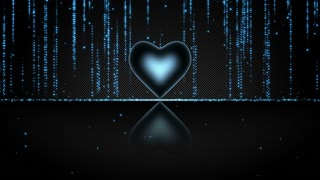 Elegant Glowing Heart with Streaks of Light Particles Seamless Looping Motion Background Cyan Blue