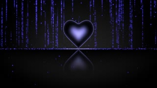 Elegant Glowing Heart with Streaks of Light Particles Seamless Looping Motion Background Deep Dark Blue