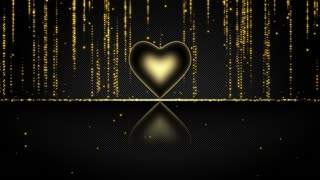 Elegant Glowing Heart with Streaks of Light Particles Seamless Looping Motion Background Gold Yellow