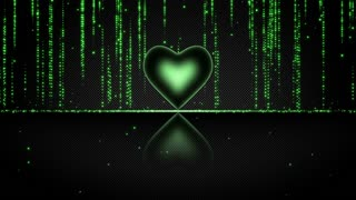 Elegant Glowing Heart with Streaks of Light Particles Seamless Looping Motion Background Green
