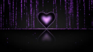 Elegant Glowing Heart with Streaks of Light Particles Seamless Looping Motion Background Purple Violet