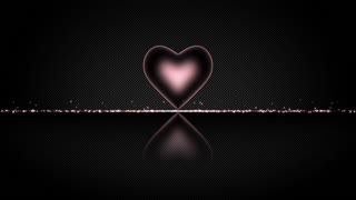 Elegant Heart with Glowing Energy Core and Shiny Floor Covered with Light Particles Motion Background Changing Colors