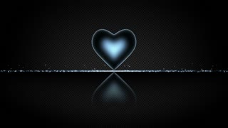 Elegant Heart with Glowing Energy Core and Shiny Floor Covered with Light Particles Motion Background Cyan Blue
