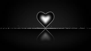 Elegant Heart with Glowing Energy Core and Shiny Floor Covered with Light Particles Motion Background White Silver