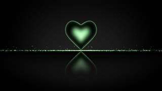 Elegant Heart with Glowing Energy Core and Shiny Floor Covered with Light Particles Motion Background Green