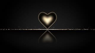 Elegant Heart with Glowing Energy Core and Shiny Floor Covered with Light Particles Motion Background Orange