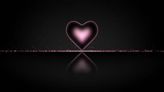 Elegant Heart with Glowing Energy Core and Shiny Floor Covered with Light Particles Motion Background Pink Magenta