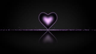 Elegant Heart with Glowing Energy Core and Shiny Floor Covered with Light Particles Motion Background Purple Violet