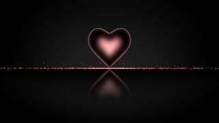 Elegant Heart with Glowing Energy Core and Shiny Floor Covered with Light Particles Motion Background Red