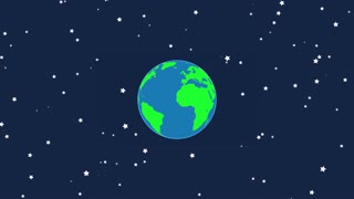 Flat Design Earth Rotating with Moon Revolving Around it | Seamless Looping | Motion Background Version 1
