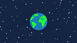 Flat Design Earth Rotating with Moon Revolving Around it | Seamless Looping | Motion Background Version 2