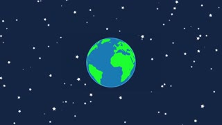 Flat Design Earth Rotating with Twinkling Stars | Seamless Looping | Motion Background Version 2