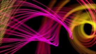 Heavenly Elegant Curved Lines or Strings Twisting and Spinning Abstract Motion Background Seamless Looping Video Backdrop Full HD Pink Yellow Red