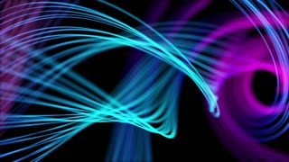 Heavenly Elegant Curved Lines or Strings Twisting and Spinning Abstract Motion Background Seamless Looping Video Backdrop Full HD Cyan Blue Violet