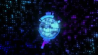 Funky Disco Ball Motion Background 4K and Full HD Blue
