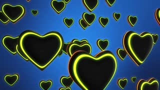 Funky Hearts with Colorful Glowing Stripes Flying in 3D Space Seamless Looping Motion Background Full HD Blue Green Yellow Red