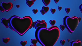 Funky Glowing Hearst with Colorful Neon Glow Seamless Looping Motion Background Full HD Blue Red Violet Purple
