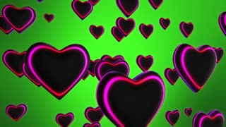 Funky Hearts with Colorful Glowing Stripes Flying in 3D Space Seamless Looping Motion Background Full HD Green Blue Yellow Red Violet