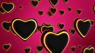 Funky Hearts with Colorful Glowing Stripes Flying in 3D Space Seamless Looping Motion Background Full HD Pink Magenta Yellow Red Orange