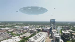 Giant Flying Saucer Hovering over a City with a swarm of smaller Space crafts flying around it ; Drone Cam Footage 4K Ultra HD