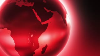 Glowing Glass Globe Marble Earth wrapped with Bright light News Reel like Motion Background Red Maroon