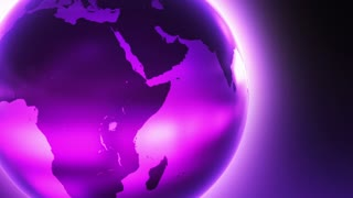Glowing Glass Globe Marble Earth wrapped with Bright light News Reel like Motion Background Purple Violet Pink