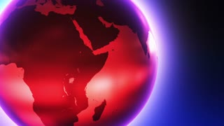 Glowing Glass Globe Marble Earth wrapped with Bright light News Reel like Motion Background Red Blue