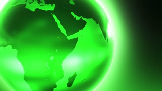 Glowing Glass Globe Marble Earth wrapped with Bright light News Reel like Motion Background Green