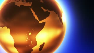 Glowing Glass Globe Marble Earth wrapped with Bright light News Reel like Motion Background Yellow Orange Golden Gold Blue