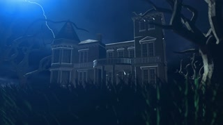 Haunted House Mansion During Dark Night with Lightning and Clouds 4K UHD Ultra HD