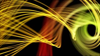 Heavenly Elegant Curved Lines or Strings Twisting and Spinning Abstract Motion Background Seamless Looping Video Backdrop Full HD Yellow Orange
