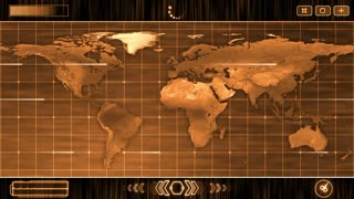 HUD Futuristic World Map 30 seconds without seamless Looping Motion Background Orange 1