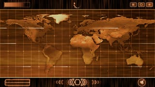 HUD Futuristic World Map 30 seconds without seamless Looping Motion Background Orange 2