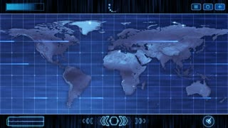 HUD Futuristic World Map 30 seconds without seamless Looping Motion Background Version 2