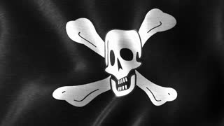 Jolly Roger the Traditional Pirate Flag | Flag of the Pirates Waving With the Wind | Seamless Loop Motion Background Full HD