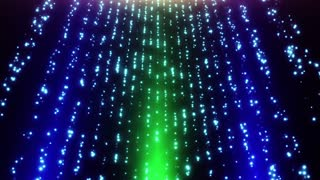 Looped Falling Glowing Dust Particles Motion Background Blue Green