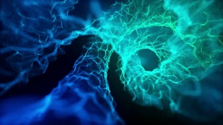 Microscopic View Of Flow of Energy Without Rack Focus Spiraling | Flow of Unknown Energy Seamless Looping VJ Loop Motion Background Video Backdrop | Blue Cyan Cool Icy Cold Ice