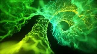 Microscopic View Of Flow of Energy Without Rack Focus Spiraling | Flow of Unknown Energy Seamless Looping VJ Loop Motion Background Video Backdrop | Green Lemon
