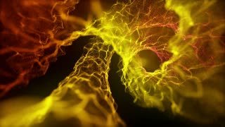 Microscopic View Of Flow of Energy Without Rack Focus 4K and Full HD Looping Motion Background Burning Yellow Orange Gold Golden
