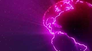 Neon Globe Neon Earth Seamless Looping Motion Background