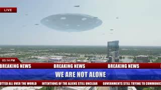 News Clip about a Giant Flying Saucer Hovering over a City with a swarm of smaller Space crafts flying around it ; Drone Cam Footage 4K Ultra HD