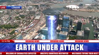News tv Footage of Alien Flying Saucer Attacking a Building in London England Full HD News Graphics with Alpha Map Included