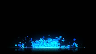 Particles Based Lower Third with reflective floor Seamless Loop Full HD Cyan