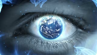 Planet Earth in the Eye Iris Weird Fantasy Science Fiction Seamless Looping Motion Background 1080p Full HD