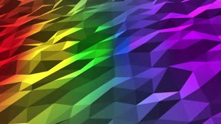Rainbow Colors | Seven Colored | Polygons | Low Poly | Seamless Looping Motion Background DCI 4K Ultra HD Full HD