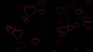 Seamless Hearts Motion Background 4K and Full HD Black