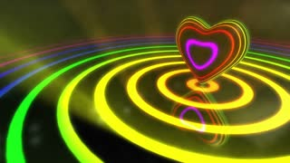 Shiny Funky Colourful Heart With Glowing Stripes and Rings | Flashing Colors and Strobe Light | Seamless Loop Video Backdrop | Motion Background | Full HD 1920x1080 | Multicolor Multicolored | Shifting Colors and Hue